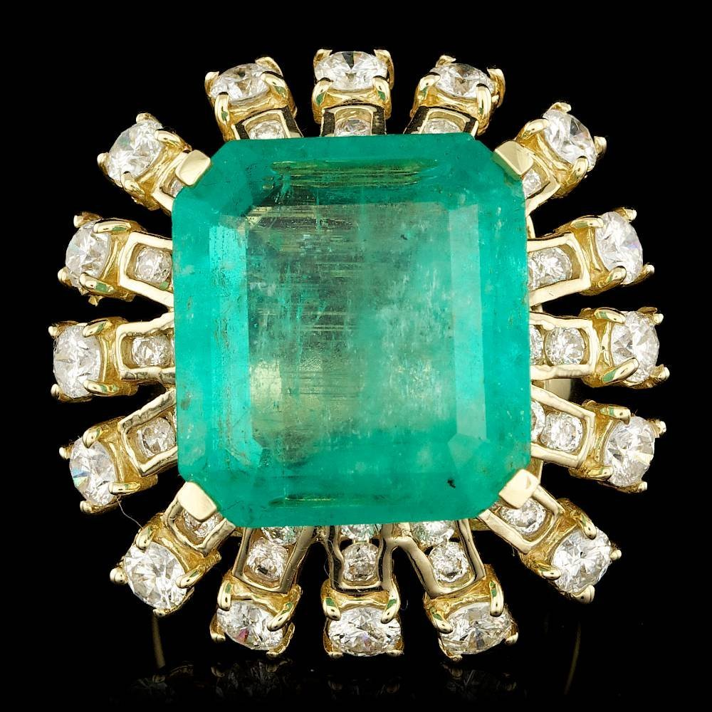 14k Gold 19.30ct Emerald 4.15ct Diamond Ring