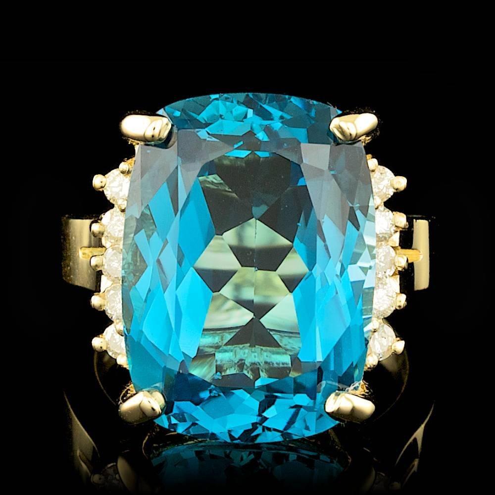 14k Yellow Gold 20.00ct Topaz 0.30ct Diamond Ring