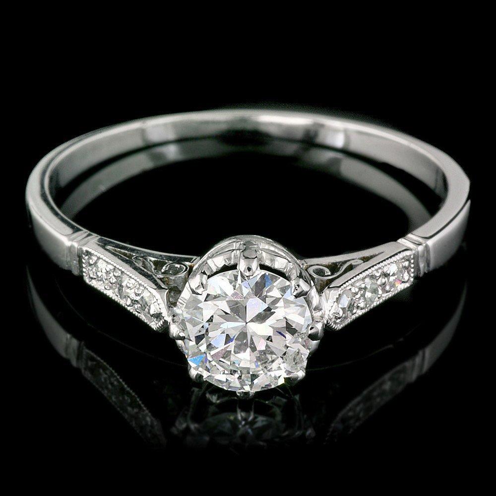Antique Solid Platinum 1.03ct Diamond Ring