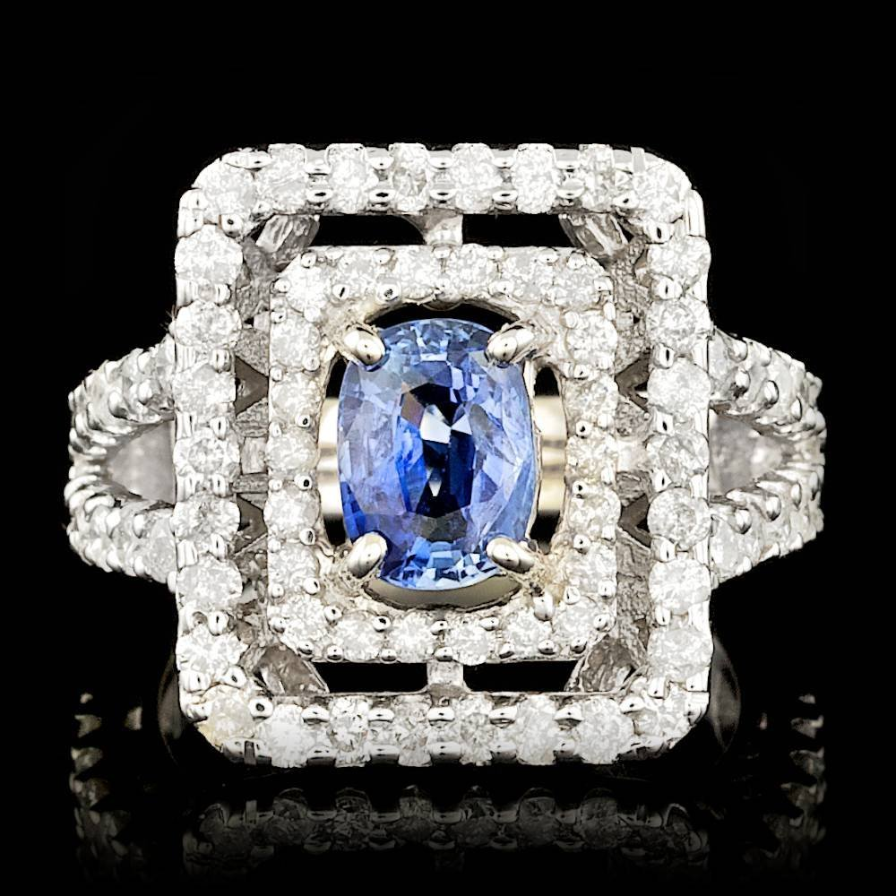 14k Gold 2.00ct Sapphire 1.90ct Diamond Ring