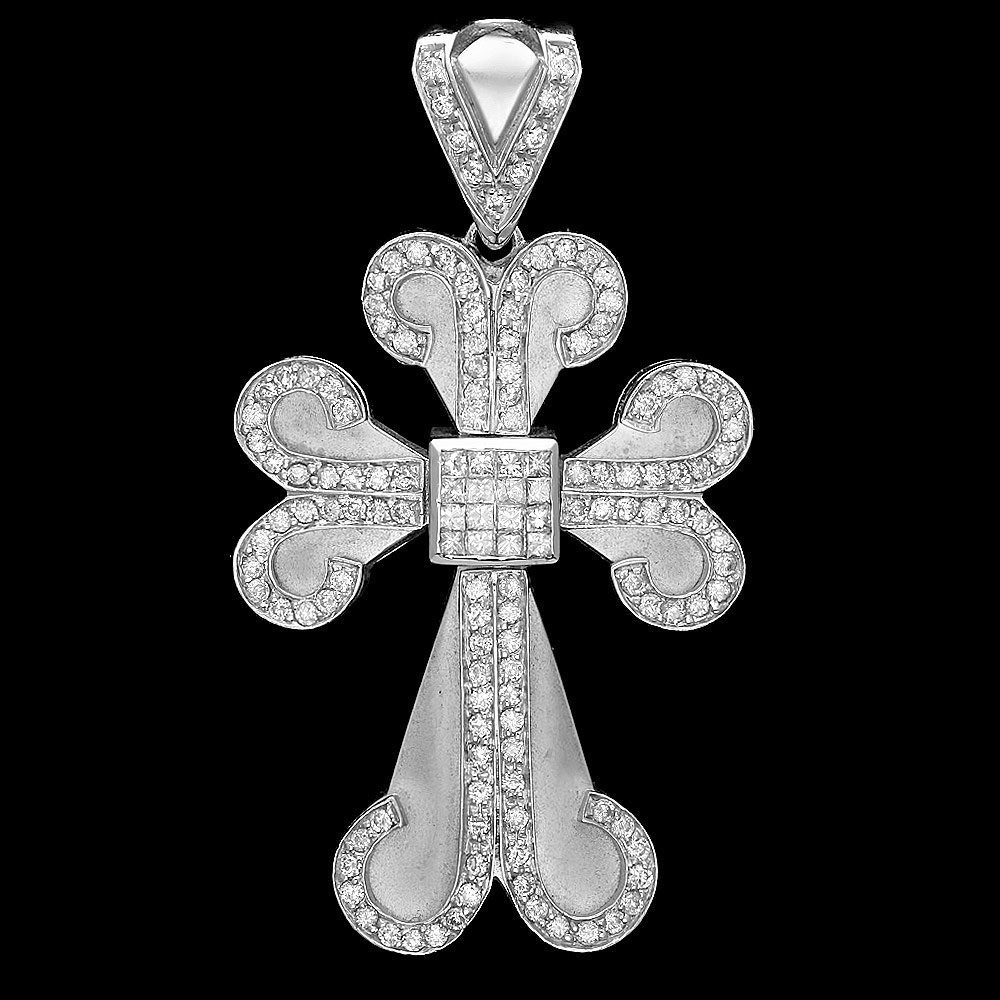 14k White Gold 3.4ct Diamond Mens Pendant