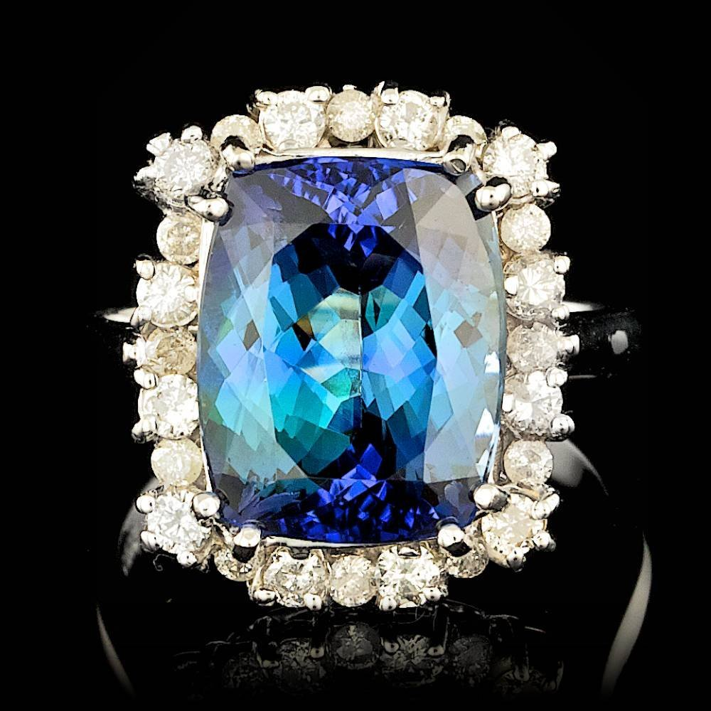 14k Gold 8.00ct Tanzanite 0.70ct Diamond Ring