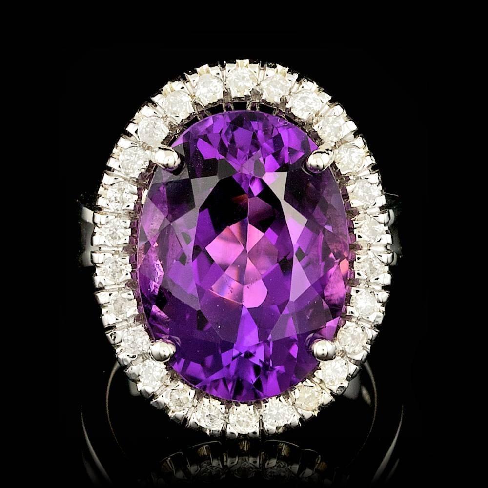 14k Gold 13.00ct Amethyst 0.75ct Diamond Ring