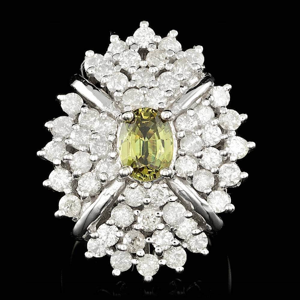 14k Gold 2.00ct Alexandrite 3.70ct Diamond Ring