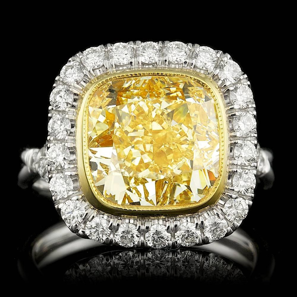 18k Multi-Tone Gold 6.83ct Diamond Ring
