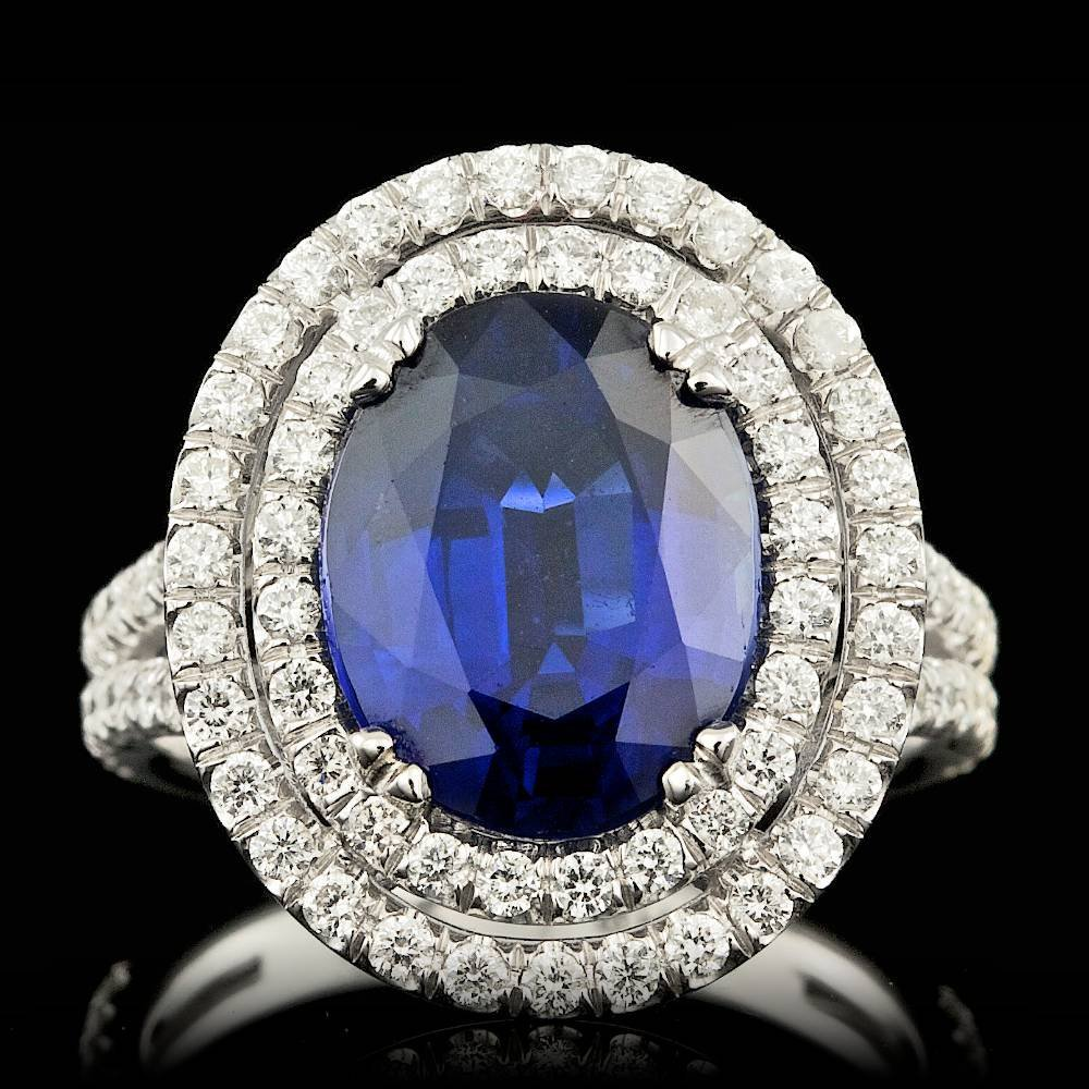 18k Gold 4.79ct Sapphire 1.30ct Diamond Ring