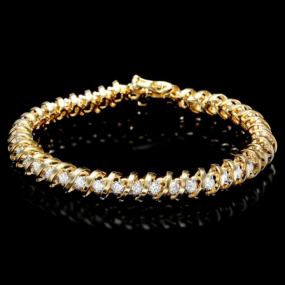 14k Yellow Gold 3.00ct Diamond Bracelet