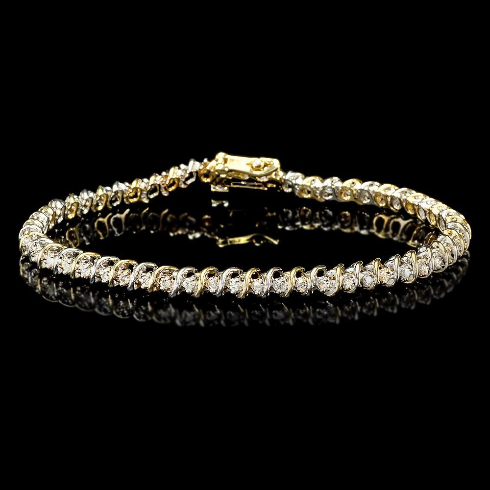 14k Multi-Tone Gold 0.90ct Diamond Bracelet