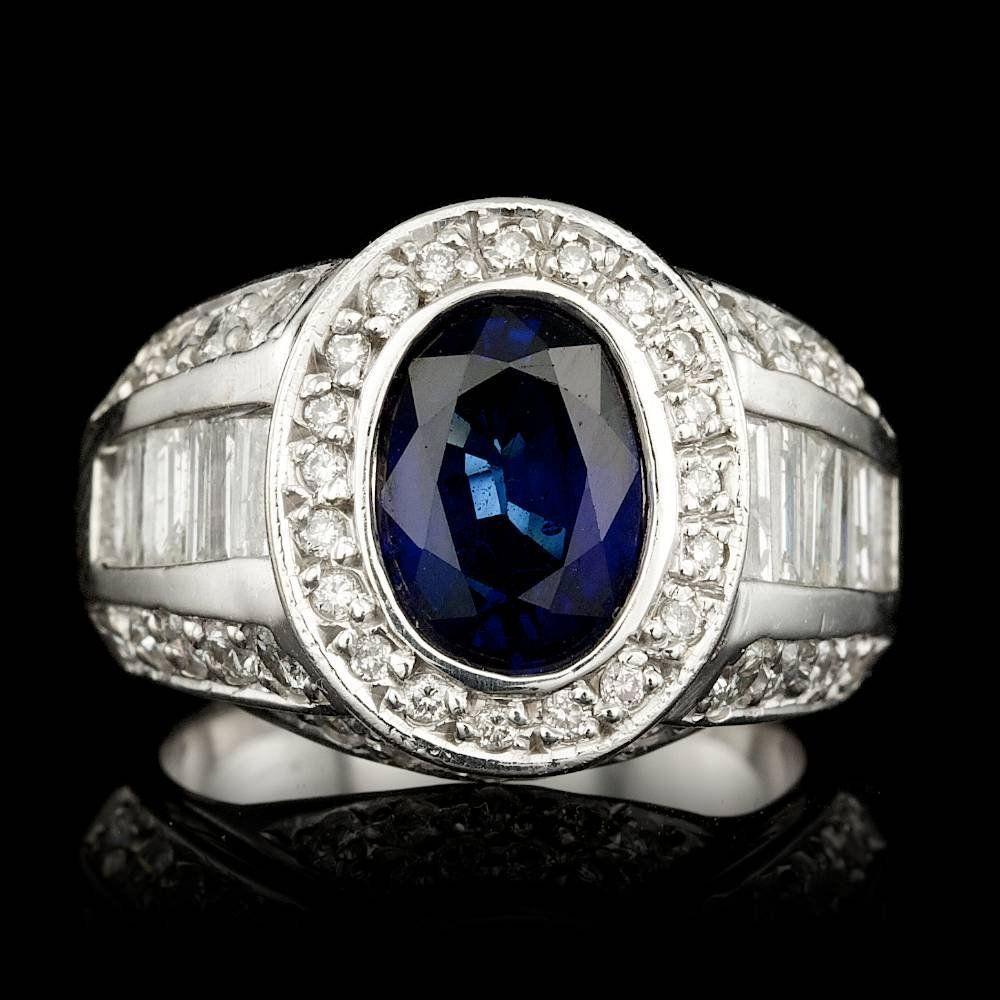 14k Gold 2.20ct Sapphire 6.5ct Diamond Mens Ring