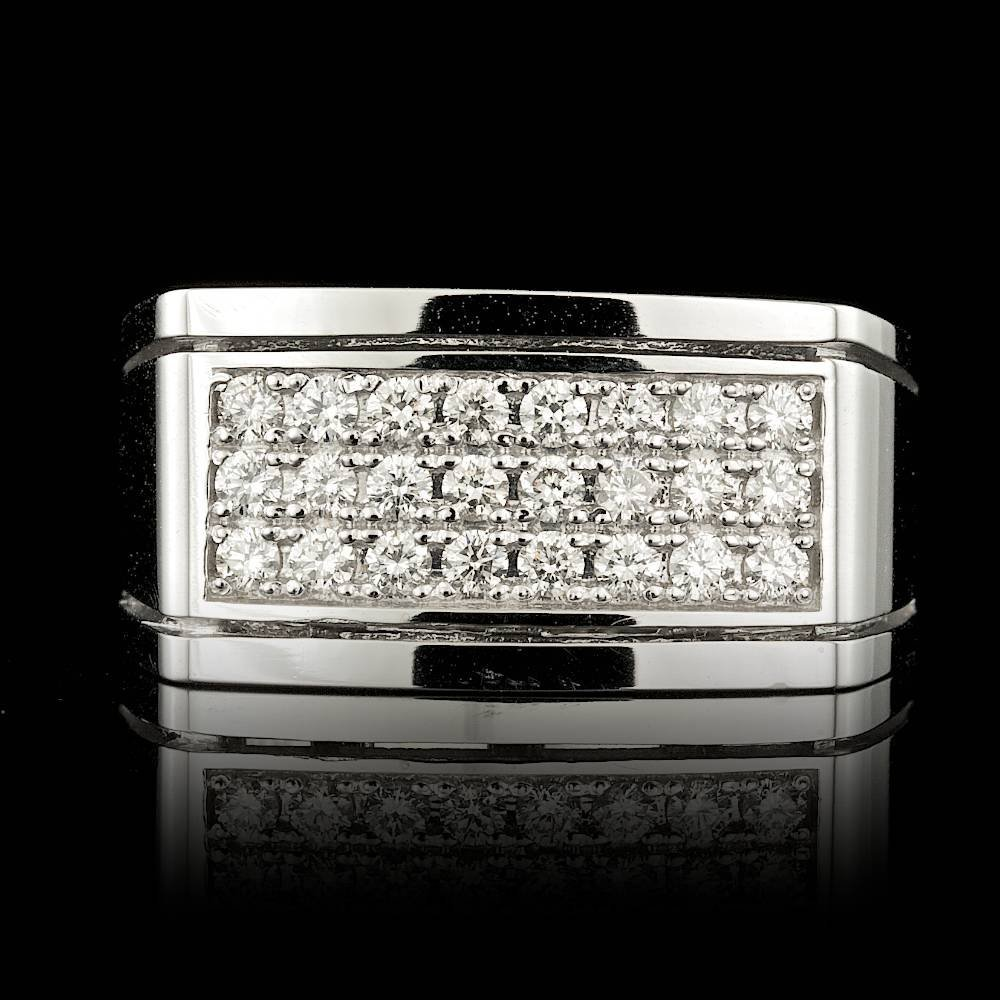 14k White Gold 0.60ct Diamond Mens Ring