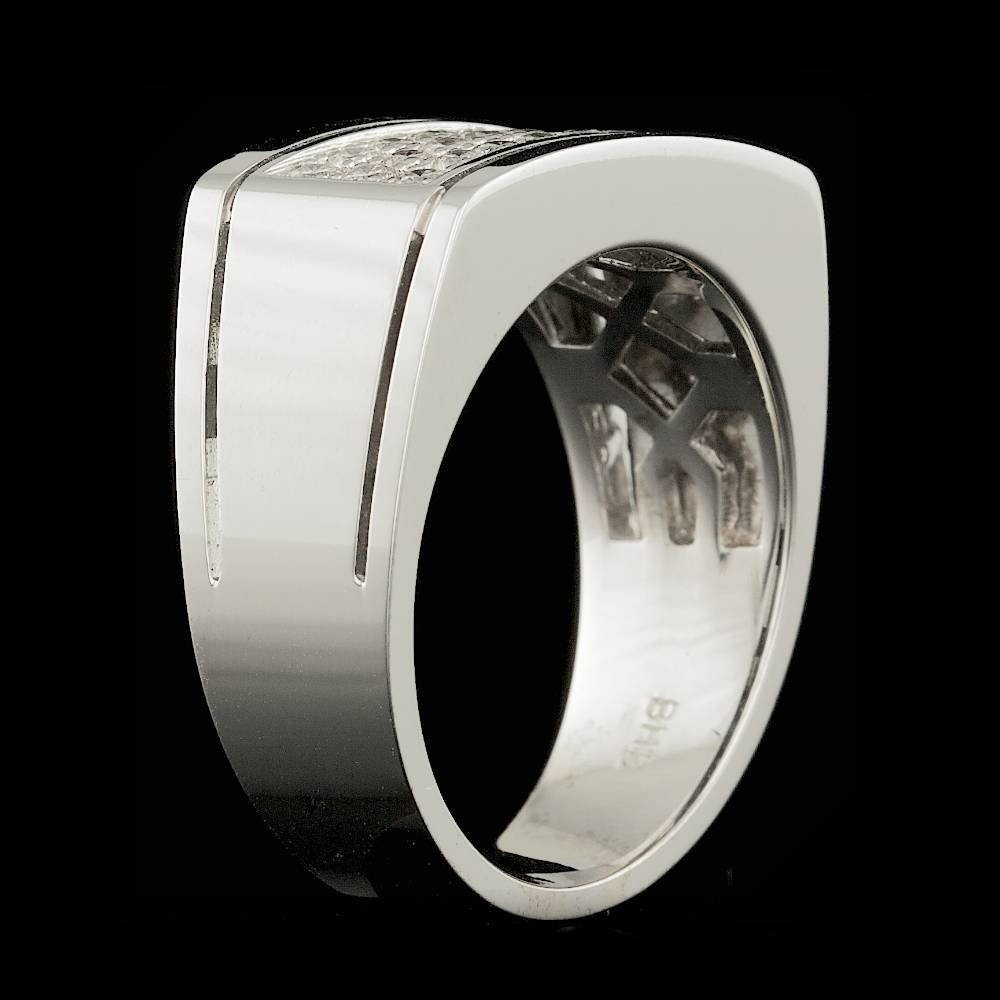 14k White Gold 0.60ct Diamond Mens Ring - 4