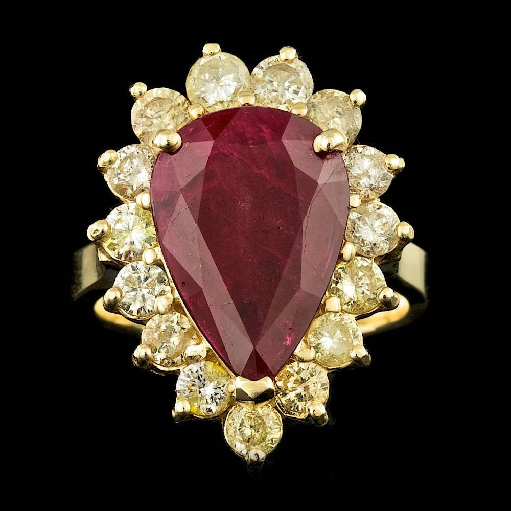 14k Yellow Gold 5.00ct Ruby .170ct Diamond Ring