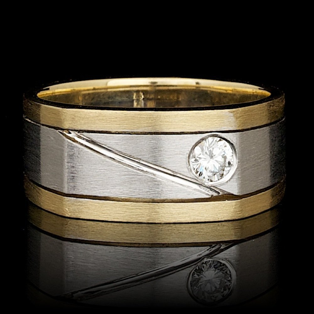 14k Multi-Tone Gold 0.22ct Diamond Mens Ring
