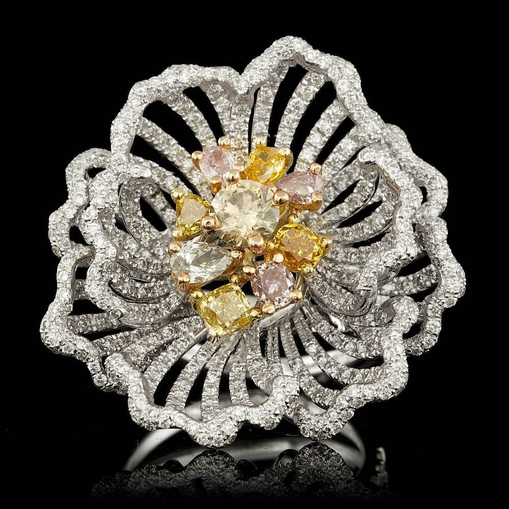 18k Multi-Tone Gold 4.23ct Diamond Ring