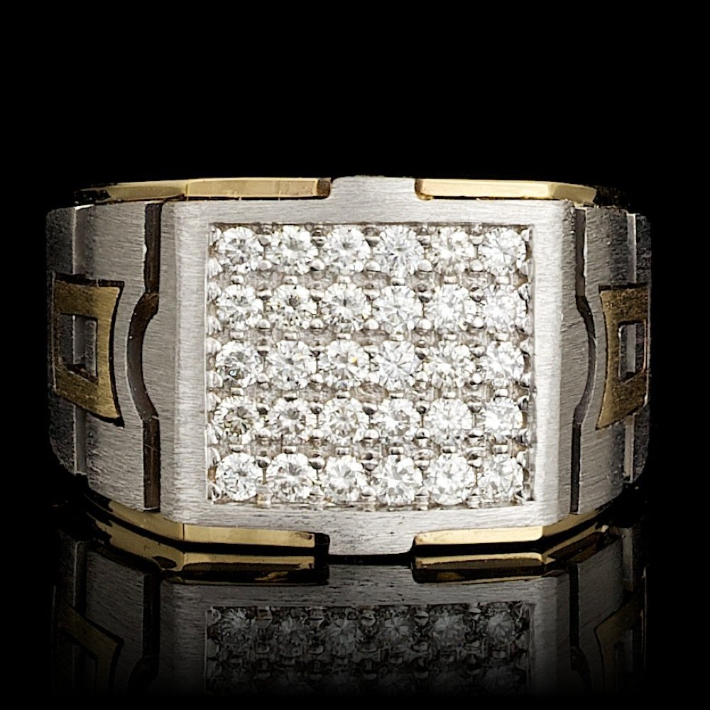 14k Multi-Tone Gold 1.03ct Diamond Mens Ring