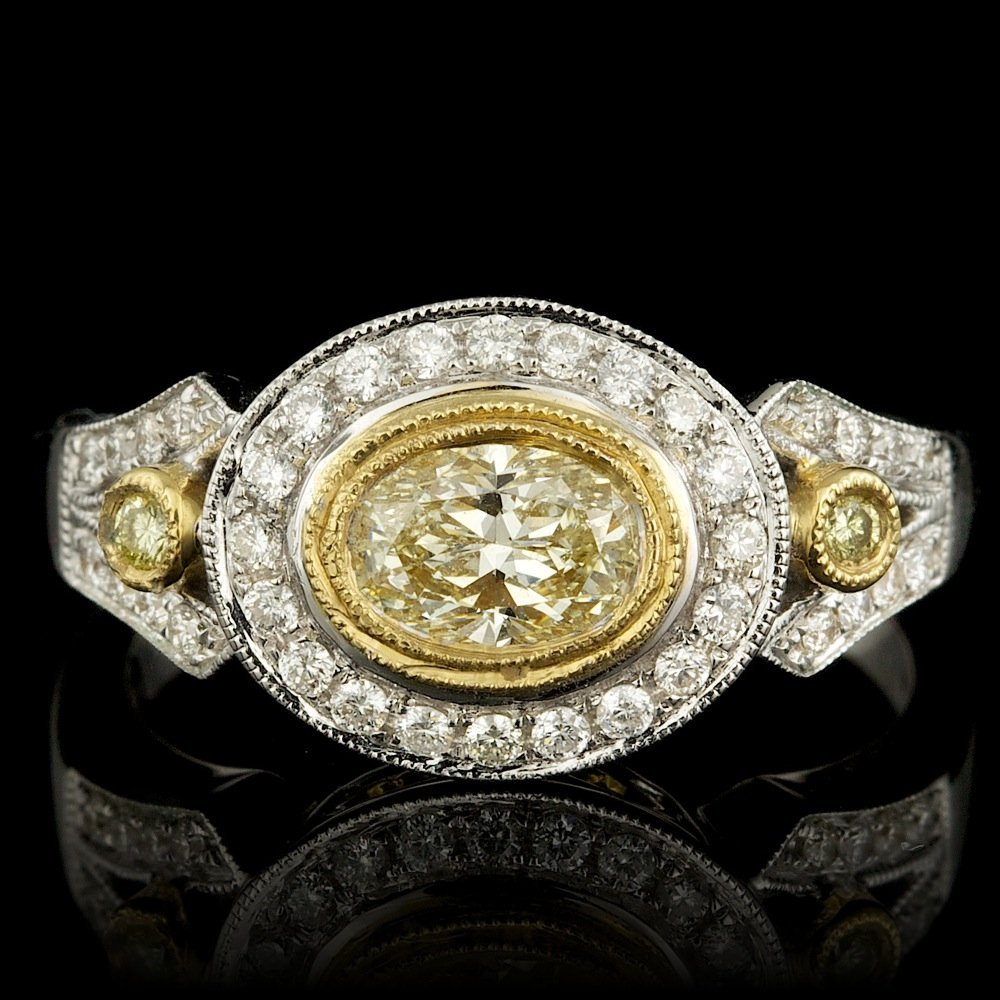 18k Multi-Tone Gold .86ct Diamond Ring