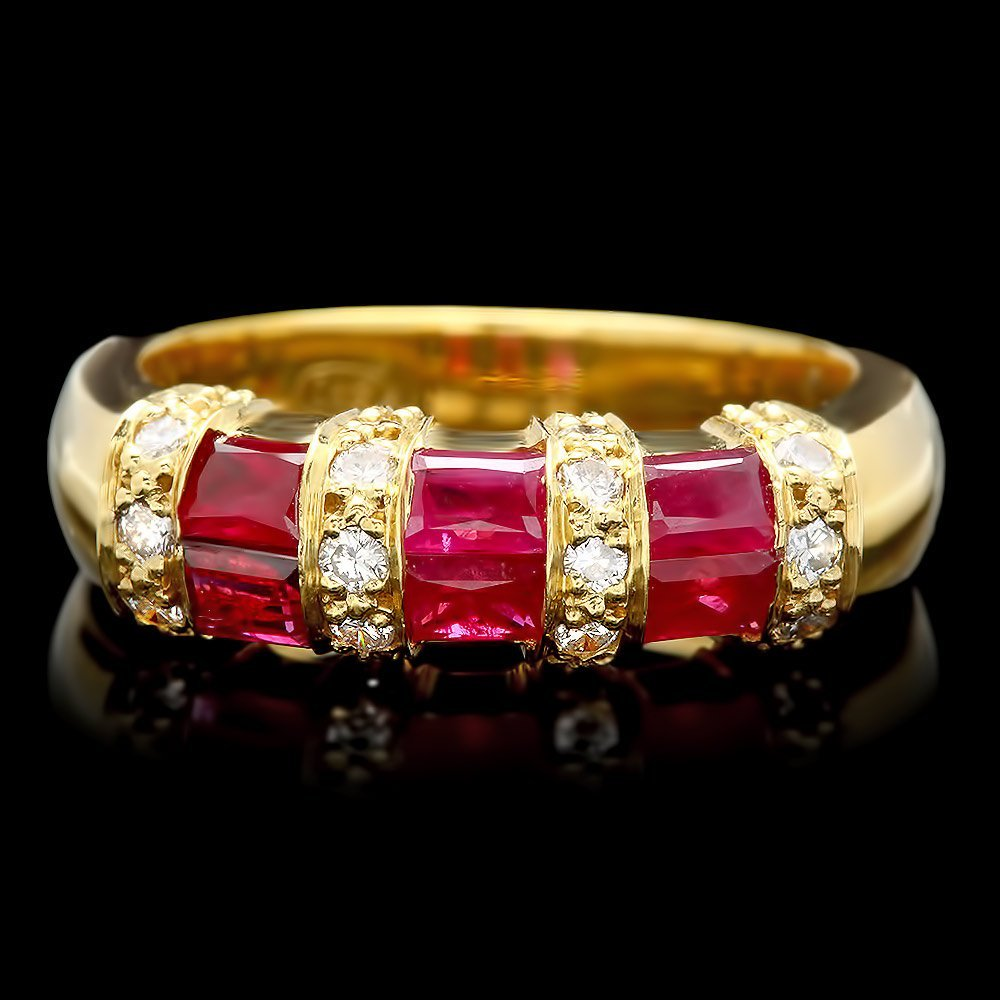 18k Yellow Gold 1.10ct Ruby 0.35ct Diamond Ring