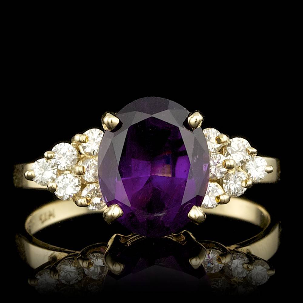 14k Gold 2.50ct Amethyst 0.35ct Diamond Ring