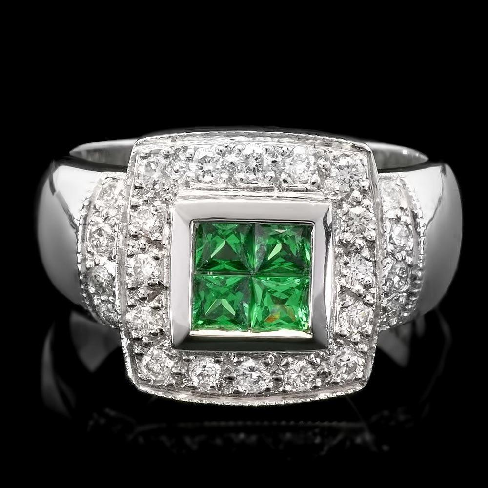 14k White Gold 0.45ct Garnet 0.58ct Diamond Ring
