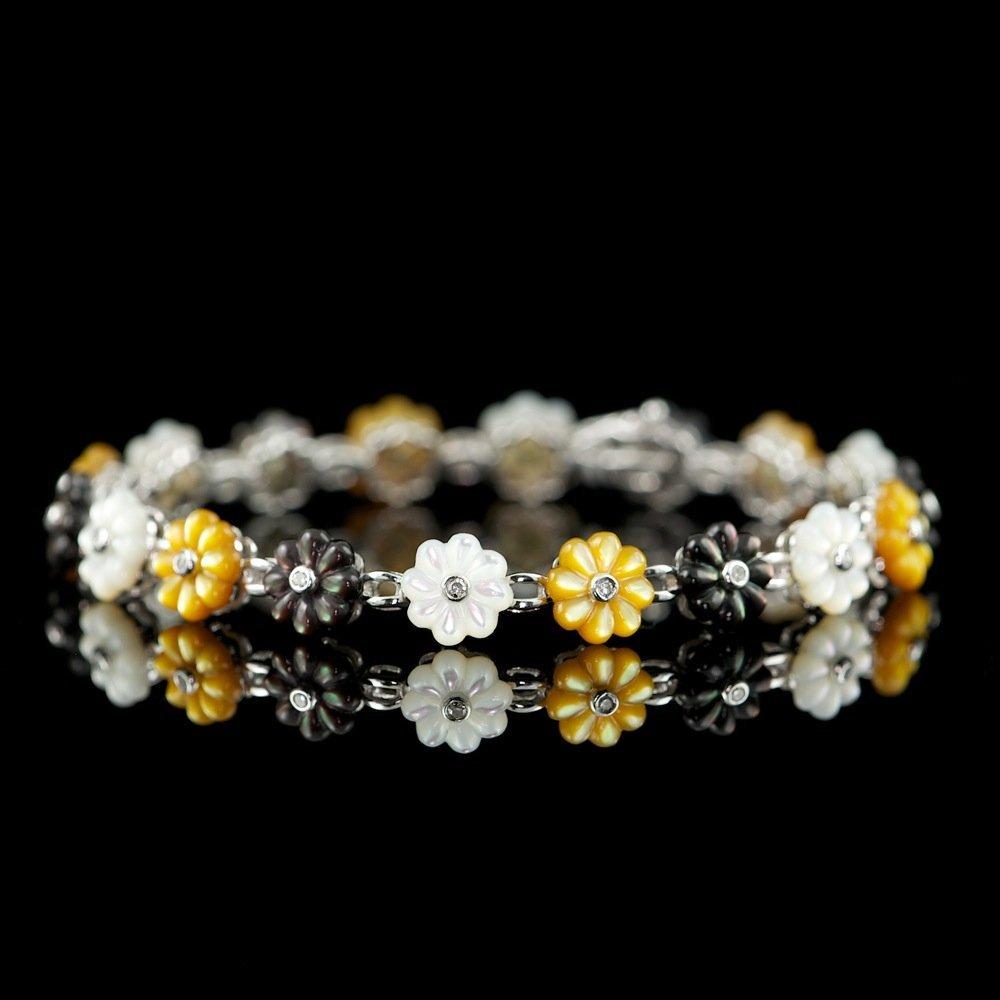 14k Ct Mother Of Pearl 0.15ct Diamond Bracelet