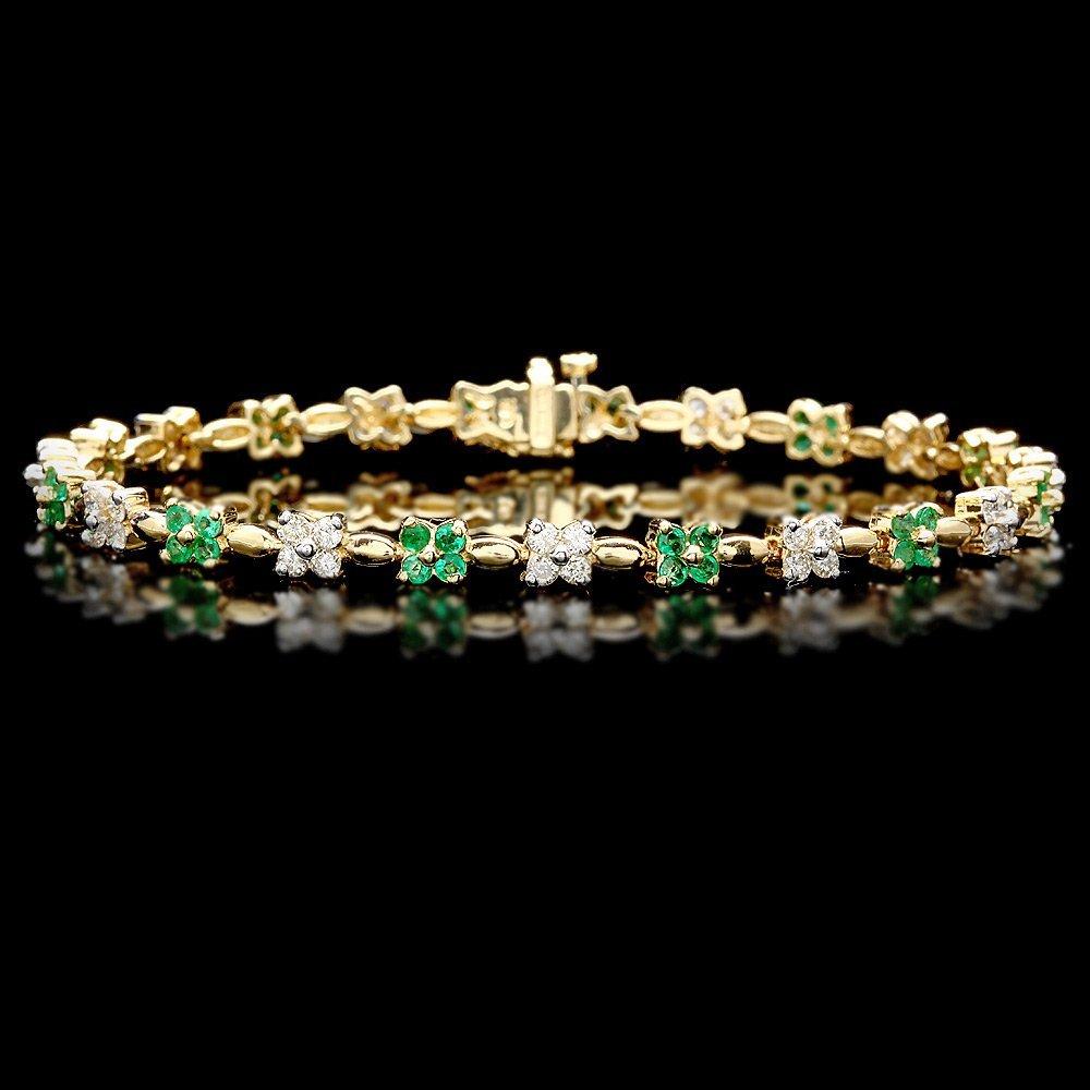 14k Gold 1.30ct Emerald 1.50ct Diamond Bracelet