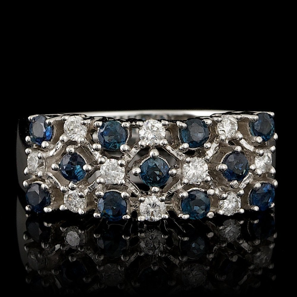 14k Gold 1.00ct Sapphire 0.33ct Diamond Ring