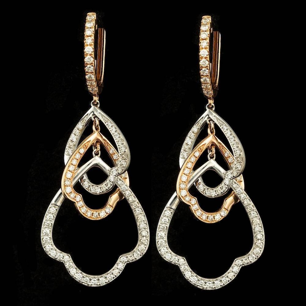 18k Multi-Tone Gold 1.20ct Diamond Earrings