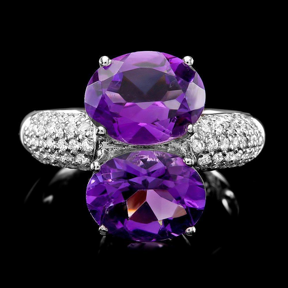 18k Gold 5.00ct Amethyst 0.50ct Diamond Ring