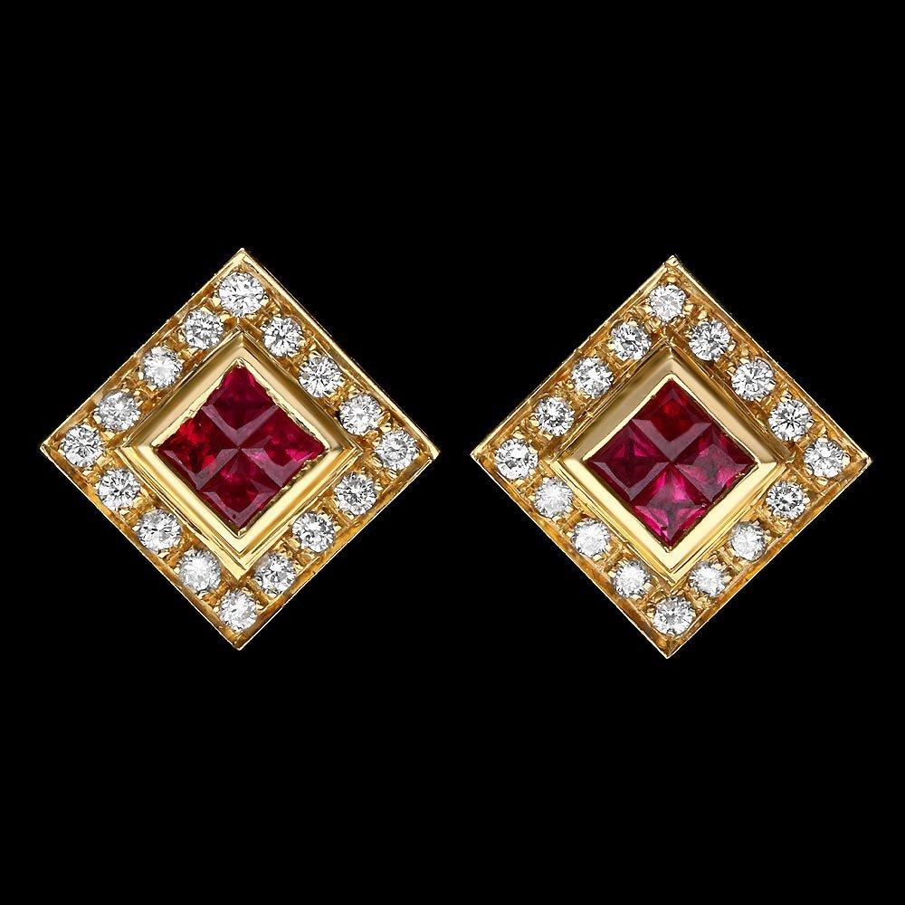 18k Gold 1.50ct Ruby 1.00ct Diamond Earrings