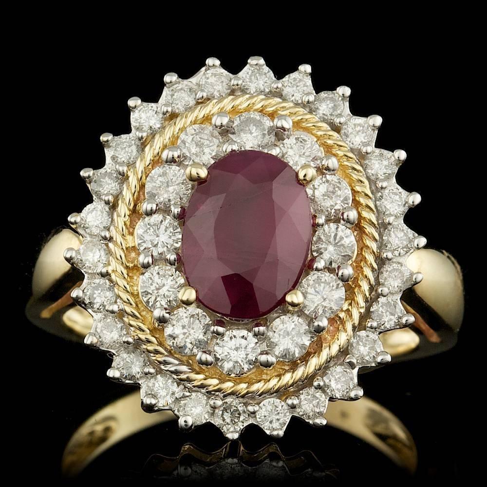10k Yellow Gold 1.50ct Ruby 1.00ct Diamond Ring