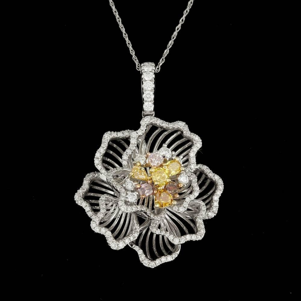 18k Multi-Tone Gold 1.95ct Diamond Pendant