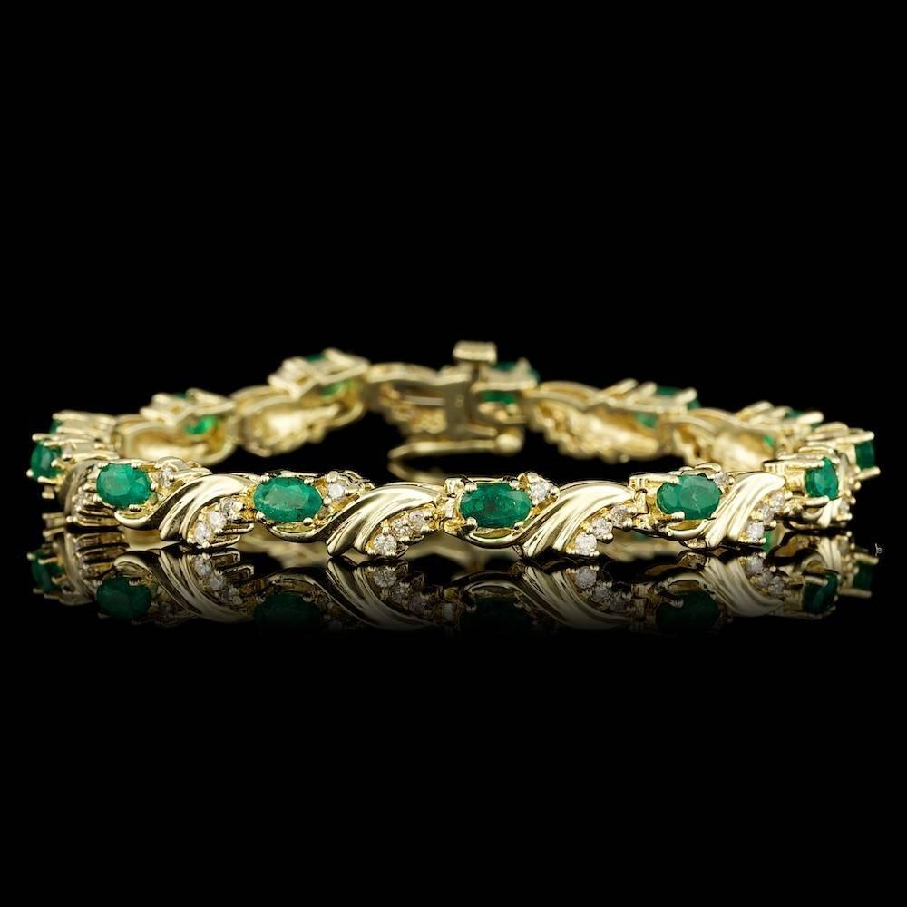 14k Gold 1.30ct Emerald 0.75ct Diamond Bracelet