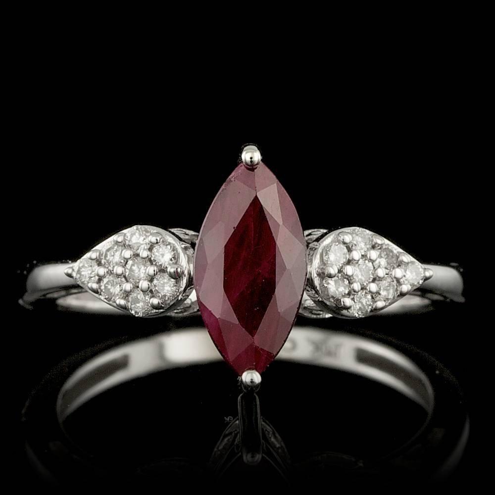 14k White Gold 1.15ct Ruby 0.15ct Diamond Ring