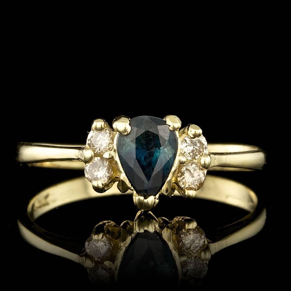14k Gold 0.50ct Sapphire 0.06ct Diamond Ring