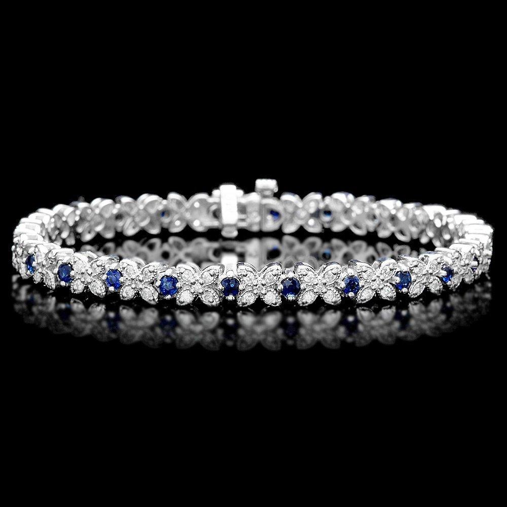 14k Gold 2.00ct Sapphire 1.50ct Diamond Bracelet