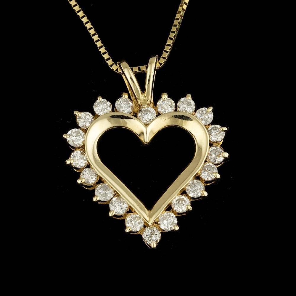 14k Yellow Gold 1.20ct Diamond Pendant