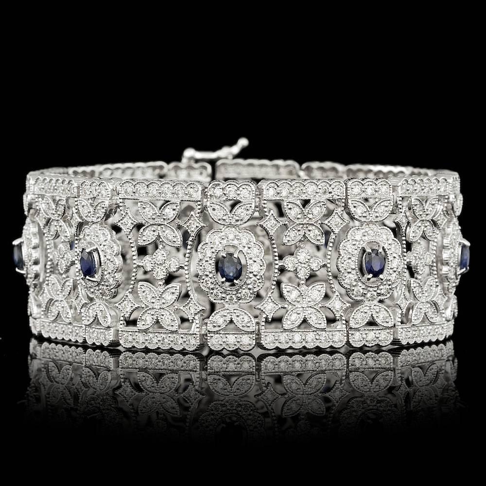 14k Gold 2.25ct Sapphire 4.10ct Diamond Bracelet