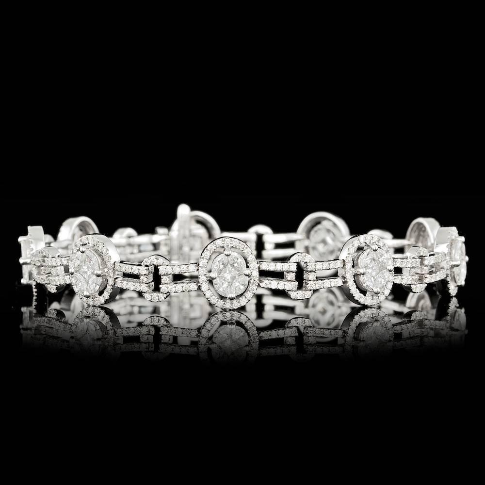 14k White Gold 4.25ct Diamond Bracelet