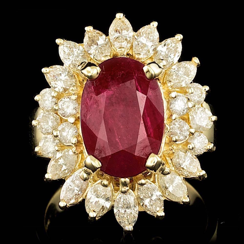 14k Yellow Gold 5.00ct Ruby 2ct Diamond Ring
