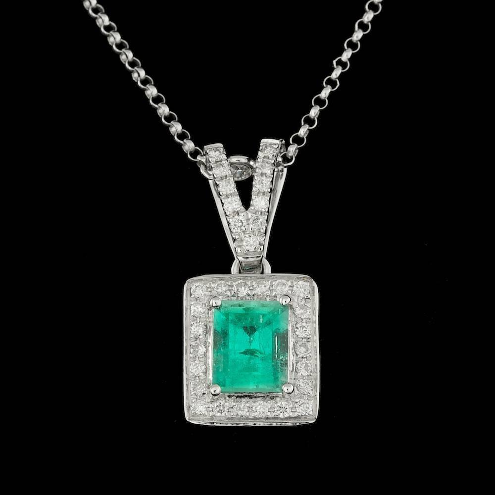 14k Gold 1.00ct Emerald 0.33ct Diamond Pendant
