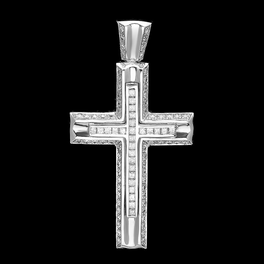 14k White Gold 1.88ct Diamond Mens Pendant
