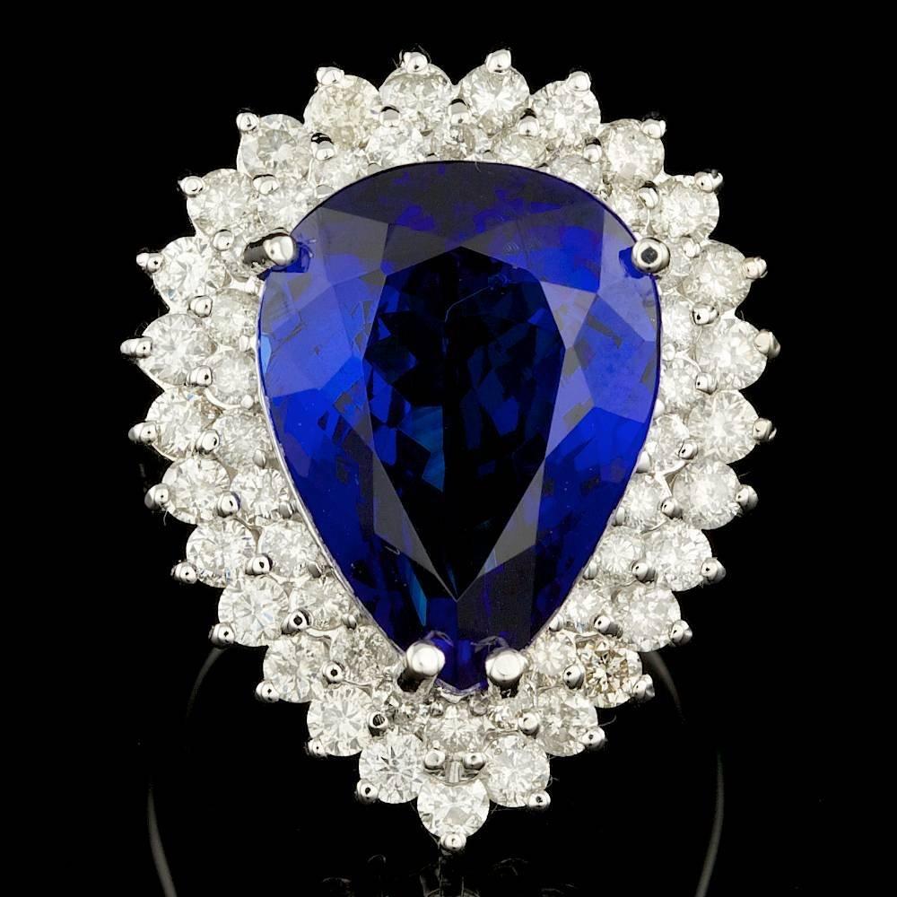 14k Gold 15.20ct Tanzanite 2.30ct Diamond Ring