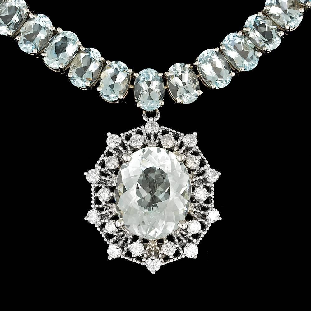 14k Gold 61ct Aquamarine 1.40ct Diamond Necklace