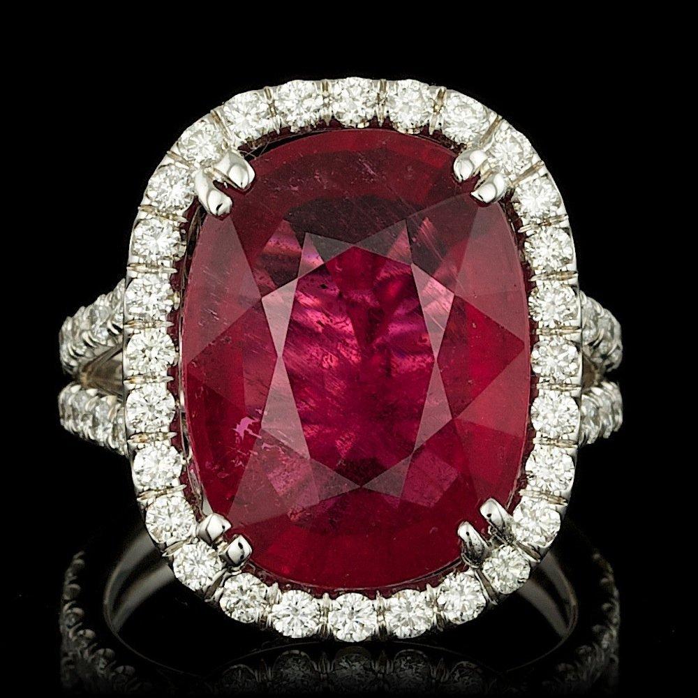 14k Gold 12.00ct Tourmaline 1.70ct Diamond Ring