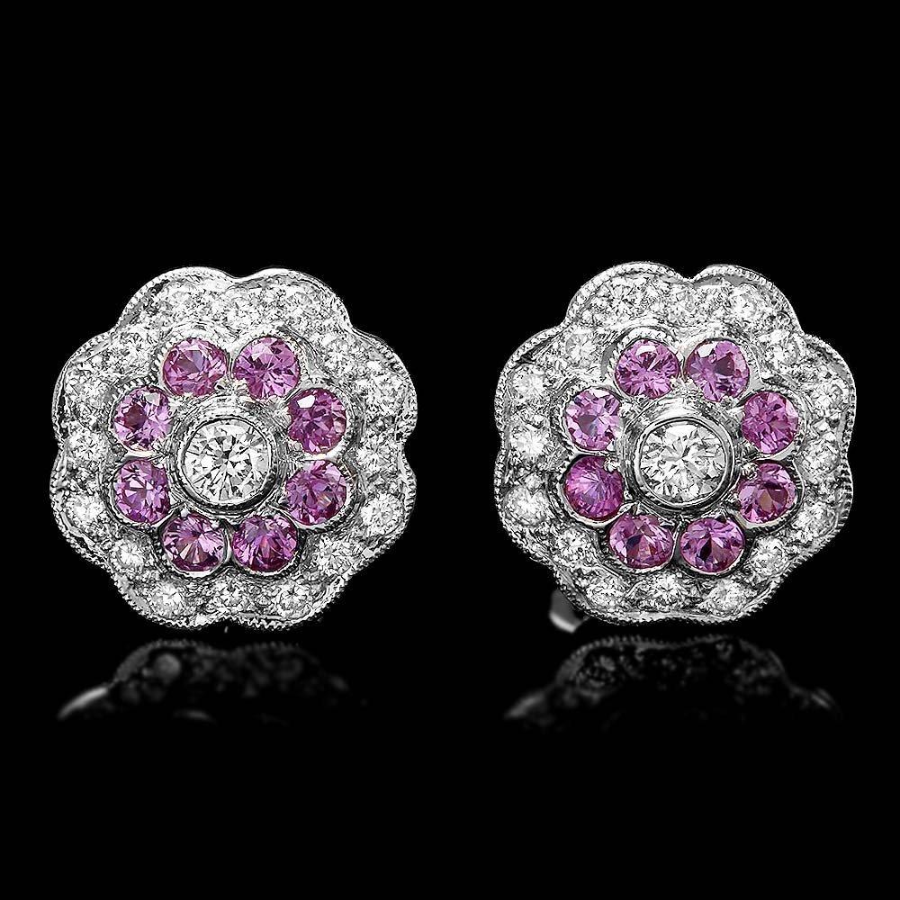 18k Gold 0.50ct Diamond 0.40ct Sapphire Earrings