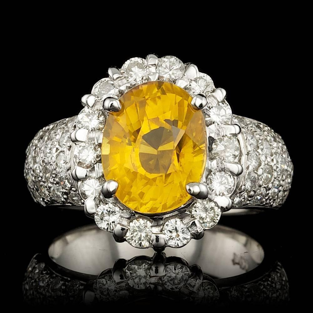 14k Gold 4.50ct Sapphire 1.20ct Diamond Ring
