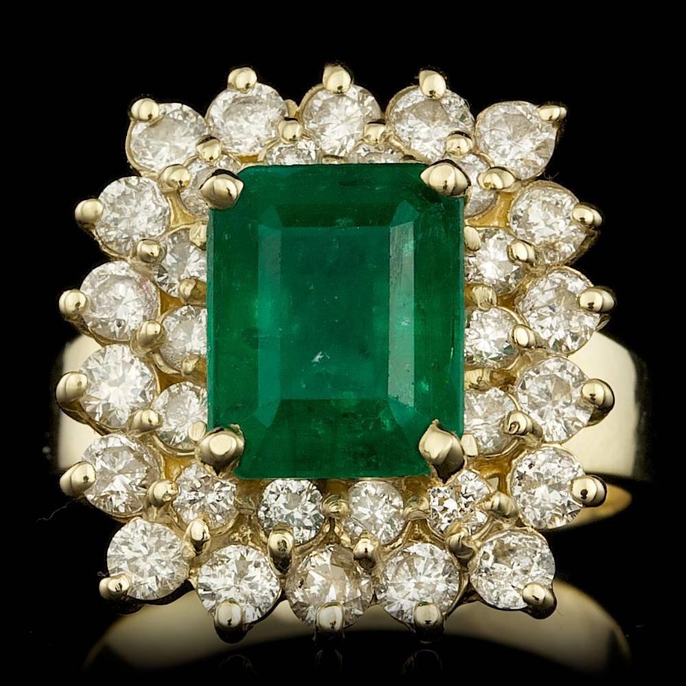 14k Gold 3.00ct Emerald 1.90ct Diamond Ring