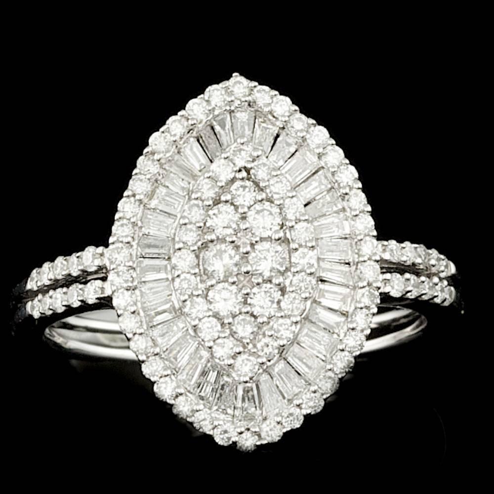 14k White Gold .89ct Diamond Ring