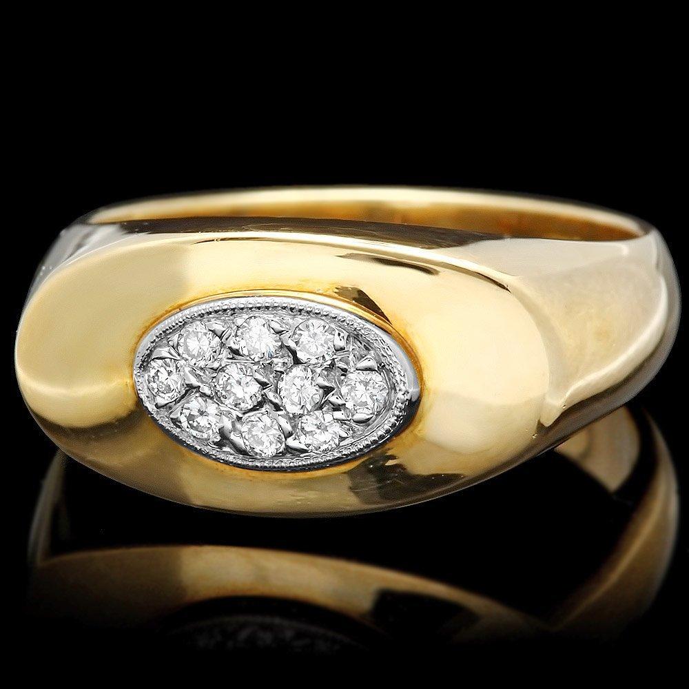 14k Multi-Tone Gold 0.25ct Diamond Mens Ring