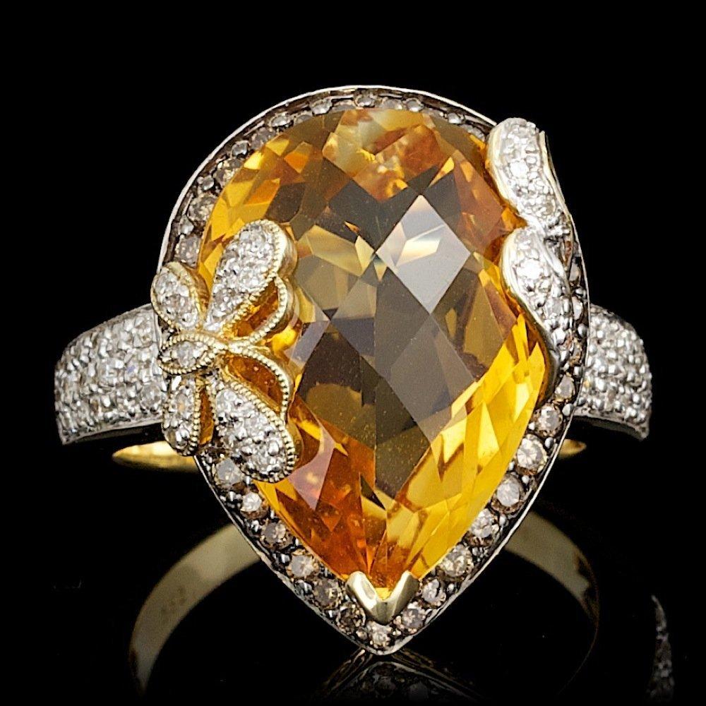 14k Gold 11.00ct Citrine .66ct Diamond Ring